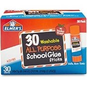 Elmer's All Purpose School Glue Sticks, Washable, 30 Count
